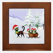 Cute Xmas kittens on a sleigh Framed Tile