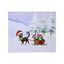 Cute Xmas kittens on a sleigh Throw Blanket
