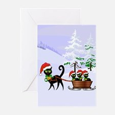 Cute Xmas kittens on a sleigh Greeting Cards