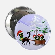 "Cute Xmas kittens on a slei 2.25"" Button (10 pack)"