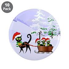 "Cute Xmas kittens on a sleig 3.5"" Button (10 pack)"