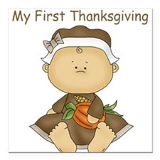 My First Thanksgiving - Baby Girl Square Car Magne