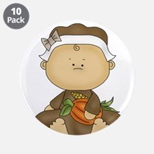 """My First Thanksgiving - Baby Girl 3.5"""" Button (10"""
