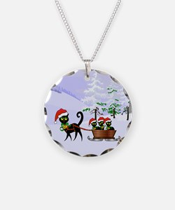 Cute Xmas kittens on a sleig Necklace