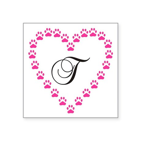 Pink Paw Heart Monogram Letter T Sticker by thepetpatch