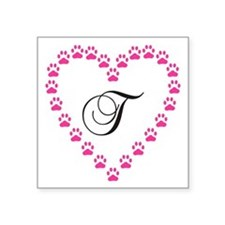 Pink Paw Heart Monogram Letter T Sticker