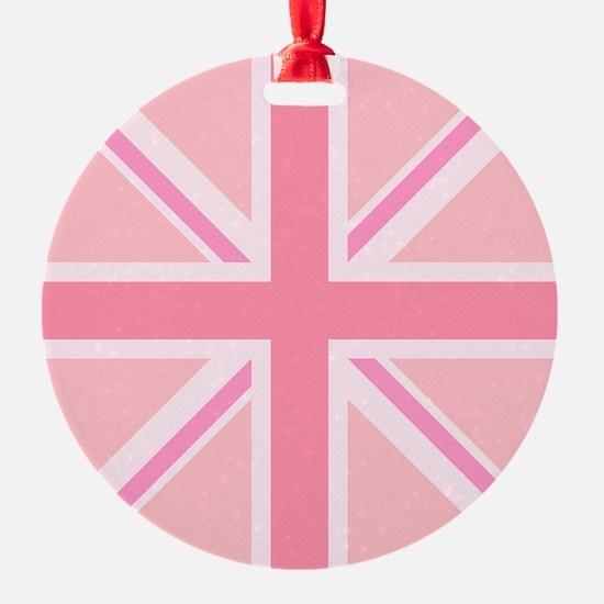 Union Jack/Flag Square Design Pinks Ornament