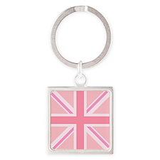 Union Jack/Flag Square Design Pinks Keychains