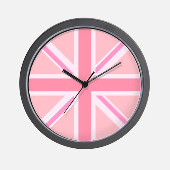 Union Jack/flag Circle Design Pinks Wall Clock