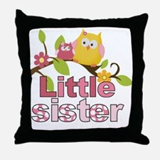 Happy Owls Little Sister Throw Pillow