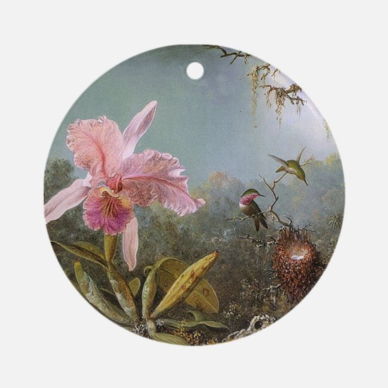 Orchid and Three Hummingbirds Ornament (Round)