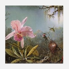 Orchid and Three Hummingbirds Tile Coaster