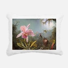 Orchid and Three Humming Rectangular Canvas Pillow