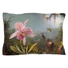 Orchid and Three Hummingbirds Pillow Case