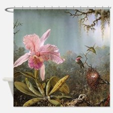 Orchid and Three Hummingbirds Shower Curtain