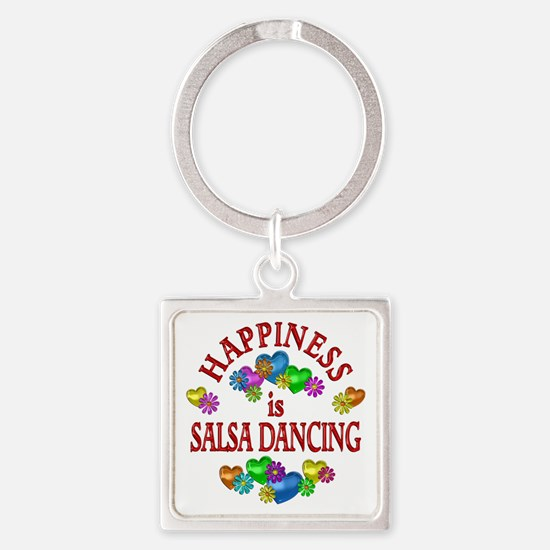 Happiness is Salsa Square Keychain