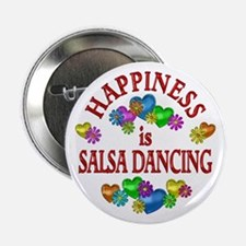 """Happiness is Salsa 2.25"""" Button (10 pack)"""