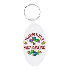Happiness is Salsa Aluminum Oval Keychain