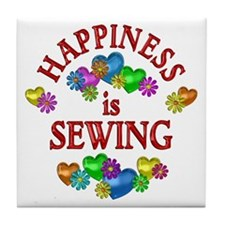 Happiness is Sewing Tile Coaster