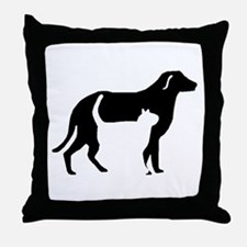 Cat And Dog Silhouette Throw Pillow