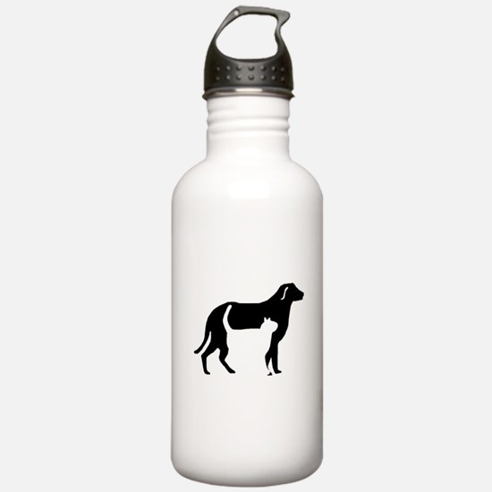 Cat And Dog Silhouette Water Bottle