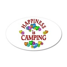 Happiness is Camping 20x12 Oval Wall Decal