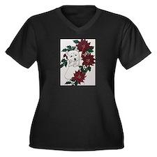 Westie Holid Women's Plus Size V-Neck Dark T-Shirt