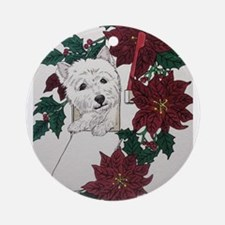 Westie Holiday Delivery Ornament (Round)