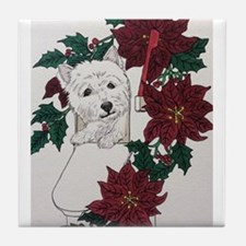 Westie Holiday Delivery Tile Coaster