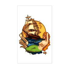 Mermaid n Pirate Ship Tattoo Art Sticker (Rectangu