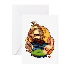 Mermaid n Pirate Ship Tattoo Art Greeting Cards (P