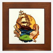 Mermaid n Pirate Ship Tattoo Art Framed Tile