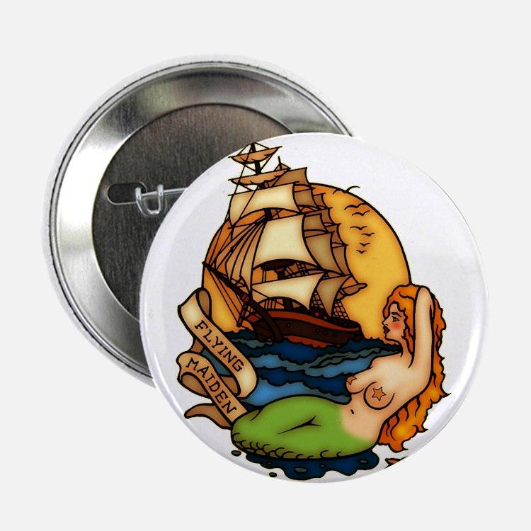 Mermaid n Pirate Ship Tattoo Art Button