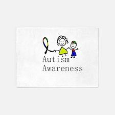 Autism Awareness Friends 5'x7'Area Rug