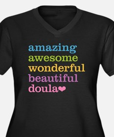Amazing Doul Women's Plus Size V-Neck Dark T-Shirt