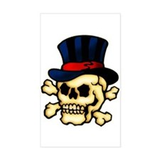 Skull in Top Hat Tattoo Art Rectangle Decal