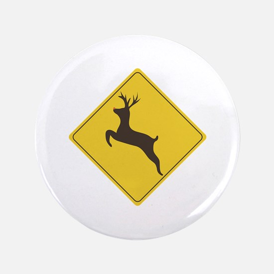 """Rudolph Crossing 3.5"""" Button"""