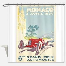 Monaco, Grand Prix, Vintage Poster Shower Curtain