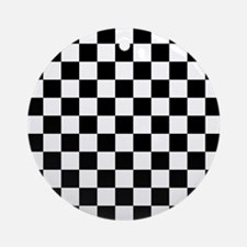 BLACK AND WHITE Checkered Pattern Ornament (Round)