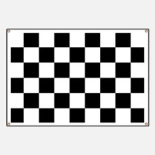 BLACK AND WHITE Checkered Pattern Banner