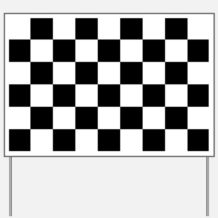 BLACK AND WHITE Checkered Pattern Yard Sign