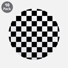 """BLACK AND WHITE Checkered Pattern 3.5"""" Button (10"""