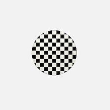 BLACK AND WHITE Checkered Pattern Mini Button