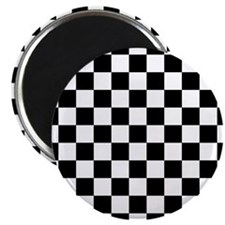 BLACK AND WHITE Checkered Pattern Magnets