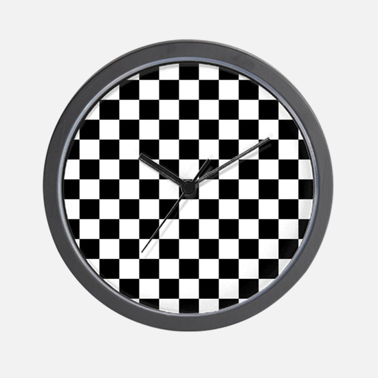 BLACK AND WHITE Checkered Pattern Wall Clock