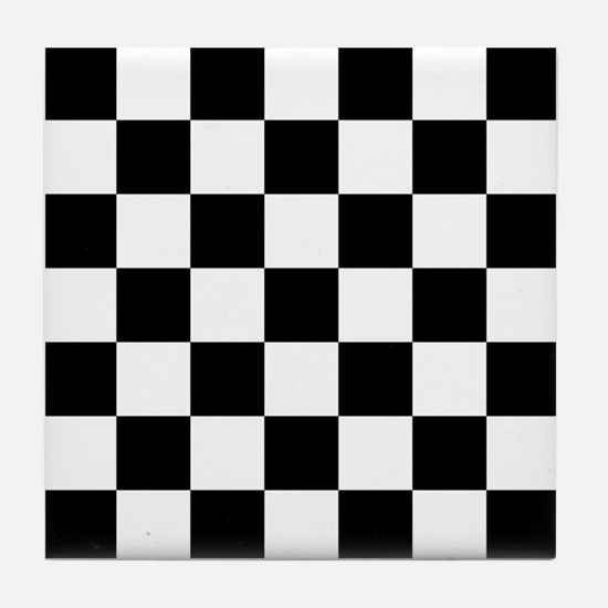 BLACK AND WHITE Checkered Pattern Tile Coaster
