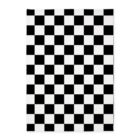 BLACK AND WHITE Checkered Pattern 5u0027x7u0027Area Rug