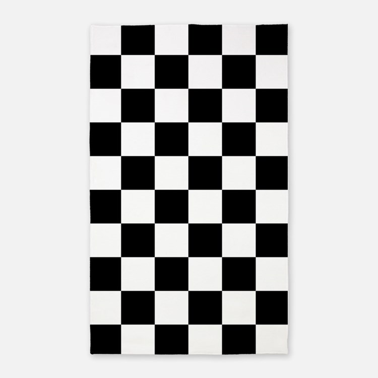 BLACK AND WHITE Checkered Pattern 3'x5' Area Rug