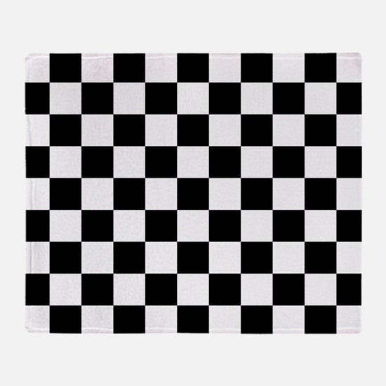 BLACK AND WHITE Checkered Pattern Throw Blanket