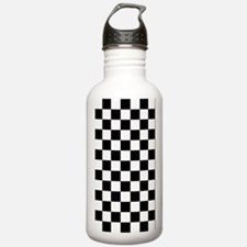 BLACK AND WHITE Checkered Pattern Water Bottle
